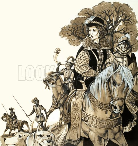 The Eternal Sportsman: The Long-Bowmen of England. Young Elizabeth I out hunting. Original artwork from Look and Learn no. 478 (13 March 1971).