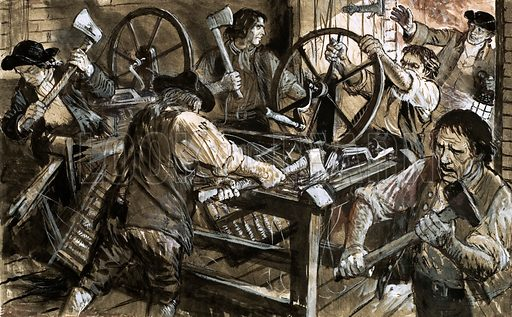 Luddites destroying machines in an English textile mill. Original artwork from Look and Learn no. 649 (22 June 1974).