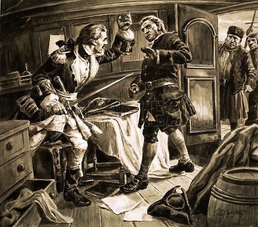 """What really happened? The Strange Case of Jenkins' Ear. """"Sword in hand, the Spanish coastguard captain lunged at Captain Jenkins."""" Original artwork from Look and Learn no. 678 (11 January 1975)."""