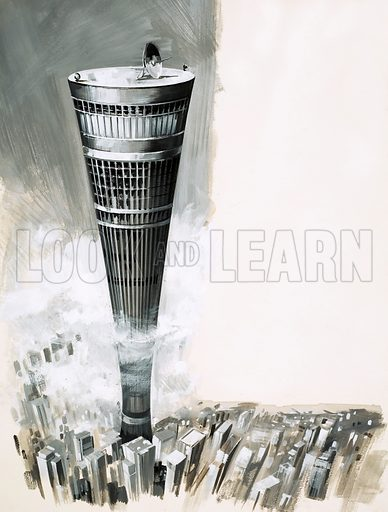 Looking Into Science: Super Cities in the Sky. Futuristic skyscraper. Original artwork from Look and Learn no. 515 (27 November 1971).