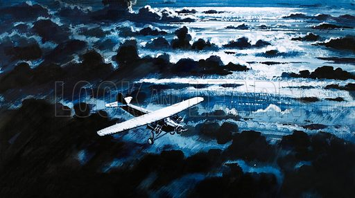 Nothing But the Best: They Opened the Airways. Charles Kingsford-Smith in a Fokker flying over the Pacific Ocean. Original artwork from Look and Learn no. 933 (8 December 1979).