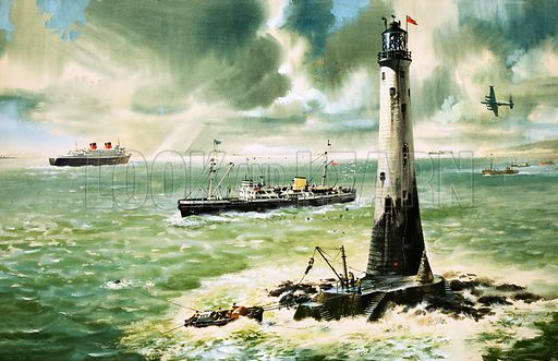 Wolf Rock lighthouse at Land's End. Original artwork.