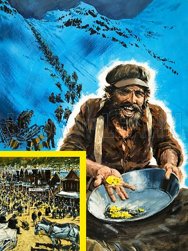 The Klondike Stampede. A man panning for gold during the Klondike gold rush with (inset) a view of the town. Original cover art from Look and Learn no. 942 (9 February 1980).