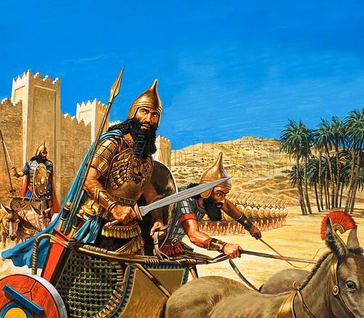 Hammurabi, King of Babylon, going to war in a chariot drawn by asses, 18th Century BC.