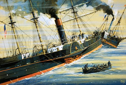 Challenge of the Blue Riband: The Duel That Led to Disaster. EK Collins' wife and children were among those who drown when the Arctic sank after a collision with a French steamer in 1854. Original artwork from Look and Learn no. 857 (17 June 1978).