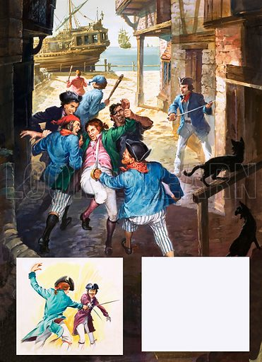 Roderick Random being pressganged and carried towards a ship with (inset) duel. Illustrations based on the novel Roderick Random by Thomas Smollett. Original artwork from Look and Learn no. 90 (5 October 1963; reused in The 10th Look and Learn Book of 1001 Questions and Answers 1977).