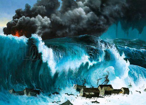 Tsunami following eruption of Krakatoa, Indonesia, 1883. Original artwork from World of Knowledge annual 1981.