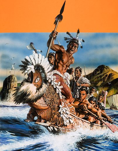 The Story of New Zealand. A Maori boat. Original cover artwork from Look and Learn no. 905 (26 May 1979).