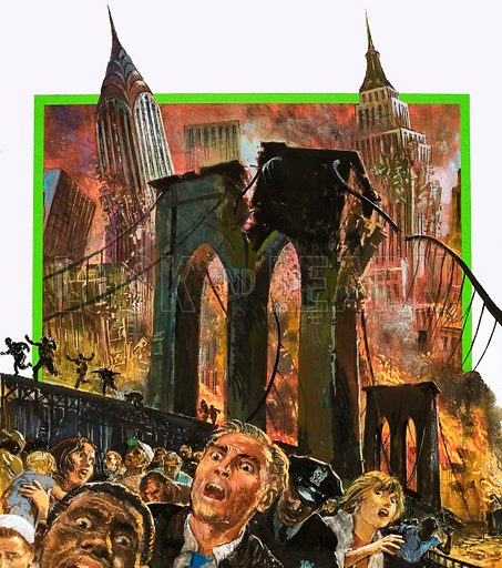 The Man Who Saw Tomorrow. Nostradamus predicted the destruction of New York City towards the end of the 20th century. Original artwork from Look and Learn no. 961 (9 August 1980).