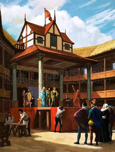 Rehearsing a play at William Shakespeare's Globe Theatre, London, early 17th Century. Original artwork from Look and Learn no. 198 (30 October 1965).