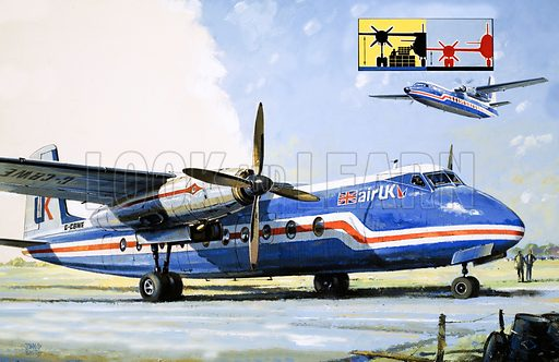 To Get to the Other Side: A Short Hop Across the Channel. Handley-Page aircraft used by Air-UK for short hops across the English Channel. Original artwork from Look and Learn no. 1007 (27 June 1981).