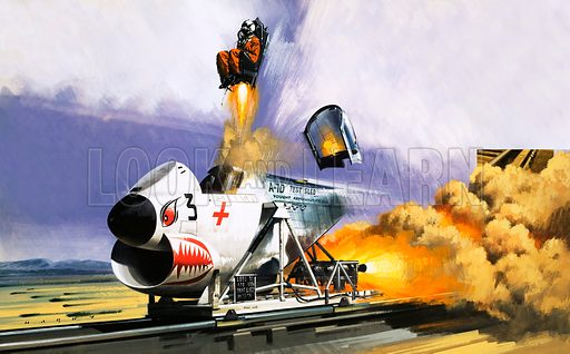 Unidentified high Speed cart with ejector seat. Original artwork from Speed Annual 1981.