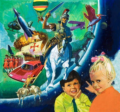 Unidentified annual cover with montage including car, cowboy, rocket, helicopter, baloon, Roman horseman, dinosaur, bird, biplane and a boy and girl in foreground. Original artwork.