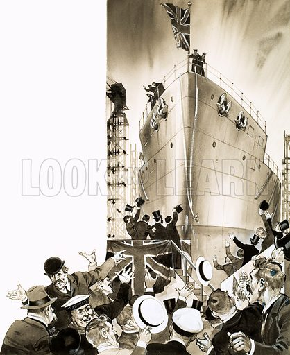 Unidentified ship being launched. Original artwork (labelled WOK 82).