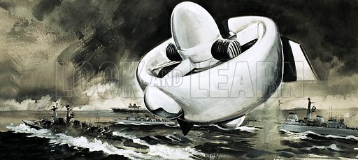 Unidentified flying device rises above ships at sea (WW2 era). Original artwork (labelled WOK 82).