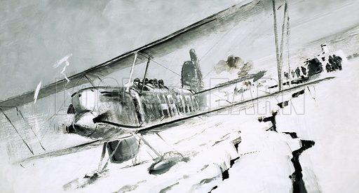 Unidentified biplane landing on cracked ice. Original artwork (labelled WOK 83).