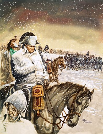 French Emperor Napoleon Bonaparte and his Grande Armee on the retreat from Russia, 1812. Original artwork from Treasure no. 193 (27 August 1966).