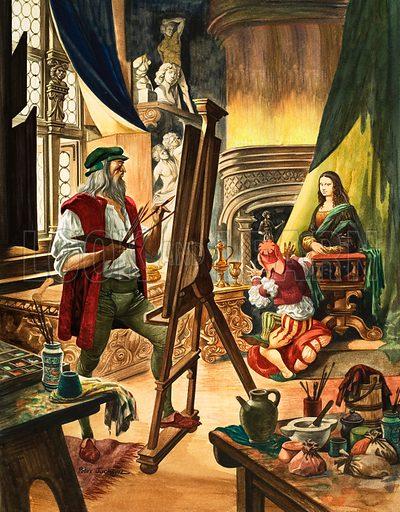 Leonardo da Vinci painting the Mona Lisa, early 16th Century