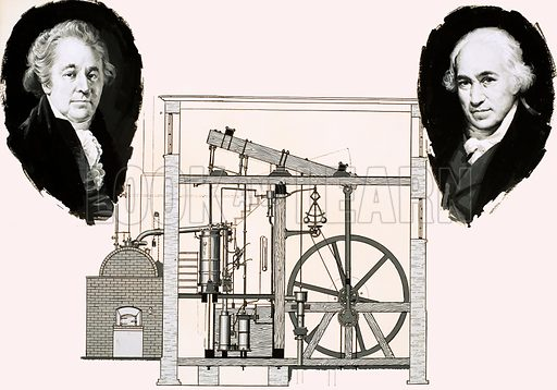 The Story of Steam: The Man Who Harnessed Energy. Matthew Boulton (left) and James Watt (right) with one of the patented steam engines. Original artwork from Look and Learn no. 647 (8 June 1974).