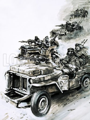 Men With a Mission: The Phantom Major David Stirling leads 'Stirling's Raiders' against German and Italian air forces in North Africa. the Original artwork from Look and Learn no. 584 (24 March 1973).