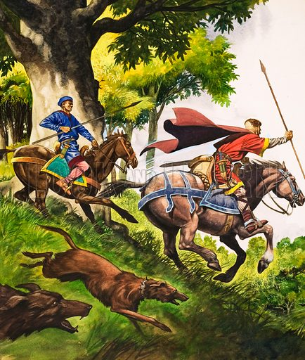 Hunting in the time of William the Conqueror with two huntsmen on horseback pursuing deer, their dogs in full cry. Original artwork from Treasure no. 36 (21 September 1963).