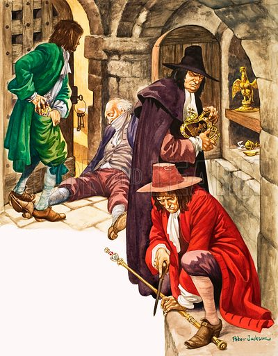The Wonderful Story of Britain: Stealing the Crown Jewels. The robbers gag the old keeper and then Captain Blood picks up the crown as the second man grabs the orb, while the third begins to file the sceptre in two, so that it can be easily hidden. Original artwork from Treasure no. 128 (26 June 1965).