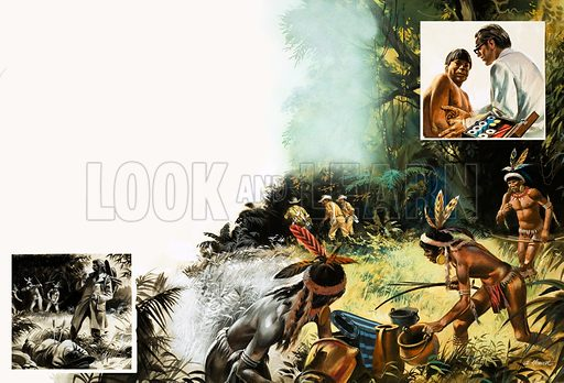 Their Changing World: Keep Your Distance. By placing gifts along the jungle trails, the Brazilian authorities began to make contact with the fierce Chavante Indians. Plus (inset left) an explorer loses his life; (inset top right) modern medical doctors are now available to the Indians who inhabit the Matto Grosso. Original artwork from Look and Learn no. 929 (10 November 1979).