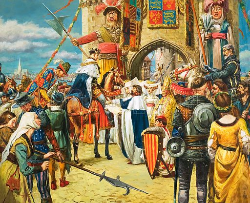 Unidentified king being greeted by dignatories with crowd, including pikemen and a bishop, before a large gate. Original artwork.