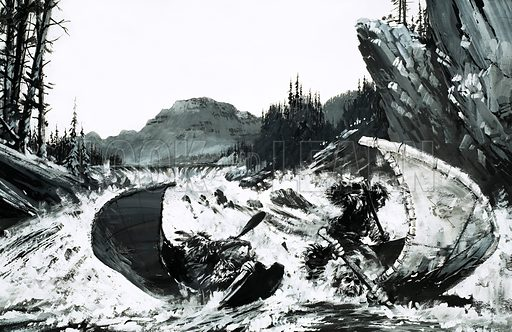 Survival: The Dream That Came True. Alexander Mackenzie begins his quest to find a route across Canada to the Pacific coast with a hair-raising river ride. Original artwork from Look and Learn no. 582 (10 March 1973).