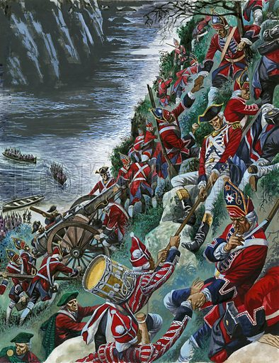 The British soldiers make the arduous ascent of the Heights of Abraham to take Quebec.