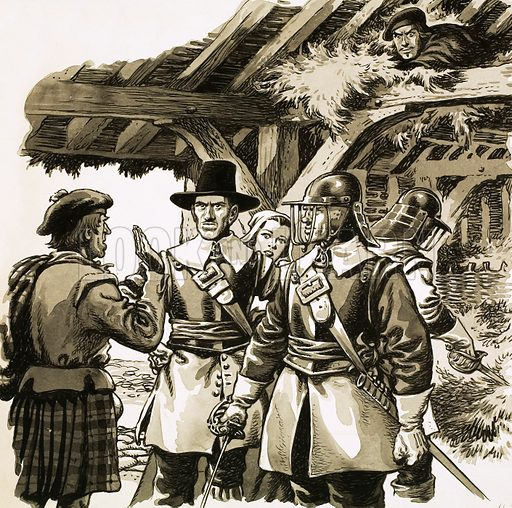All the Queen's Counties: When the Highlands Lost Thier Heart. Hidden in a crofter's hay-loft, the Marquis of Montrose listened as soldiers searched for him. Original artwork from Look and Learn no. 678 (11 January 1975).