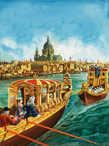 Sailing to Music. King George the First and his family enjoyed river parties on the Thames in the Royal Barge, followed by a barge filled with musicians.