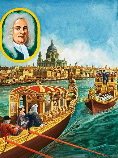 Sailing to Music. King George the First and his family enjoyed river parties on the Thames in the Royal Barge, followed by a barge filled with musicians. Original artwork from Treasure no. 397 (22 August 1970).