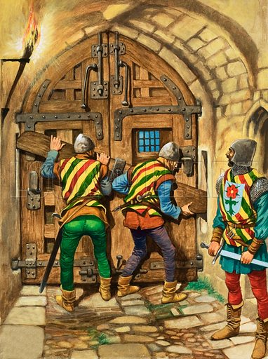 Barring the Gates. In olden days, many towns had walls around them with strong gates which were locked at night to keep enemies of bands of robbers out. Original artwork from Treasure no. 402 (26 September 1970).
