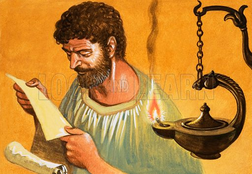 Let There Be Light! Greek man reading by lamp-light. Original artwork from Treasure no. 410 (21 November 1970).