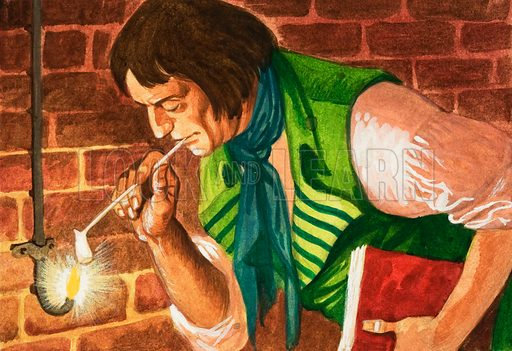 Let There Be Light! William Murdock lights his pipe using gas from a tank in 1792. Original artwork from Treasure no. 410 (21 November 1970).