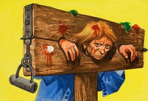 No Entry: Padlocked in the pillory. Original artwork from Treasure no. 402 (26 September 1970).