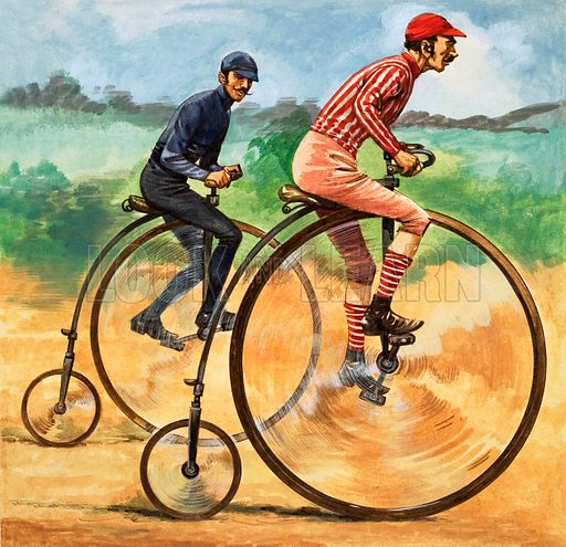 Cyclists racing on Penny Farthing bicycles. Original artwork from Treasure no. 305 (16 November 1968).