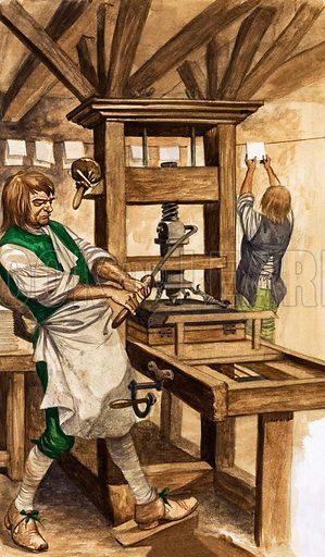Caxton's press.  Original artwork from Treasure no. 294 (31 August 1968).