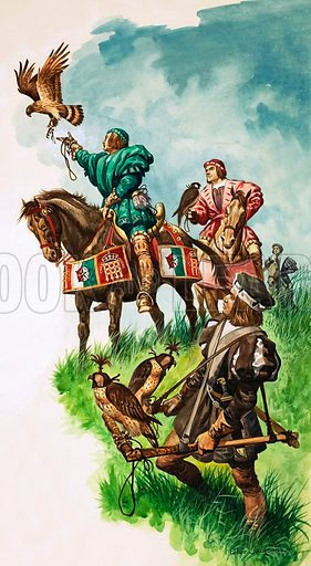 King Henry VII releasing his falcon while hunting; the other falcons are hooded and sit quietly. Original artwork from Treasure no. 81 (1 August 1964).