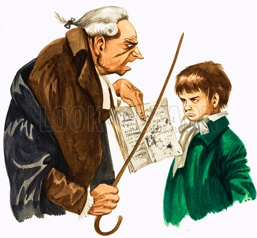 When They Were Young: Beethoven. Sometimes the teacher held up Ludwig's untidy exercise book for the class to see. Original artwork from Treasure no. 202 (26 November 1966). Originally published in black & white.