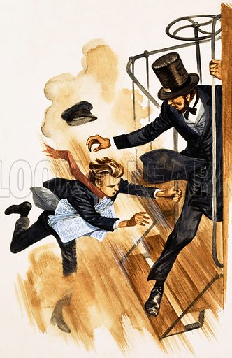 When They Were Young: Thomas Edison - the American inventor. A guard tries to grab Edison to pull him on board a train. Original artwork from Treasure no. 188 (20 August 1966). Originally published in black & white.