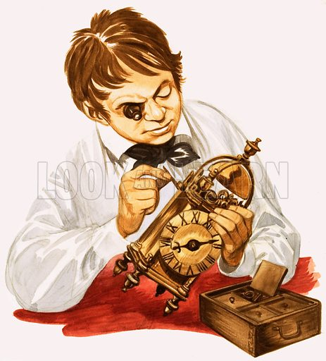 When They Were Young: Isambard Kingdom Brunel the Builder. Brunel learns how to make clocks. Original artwork from Treasure no. 177 (4 June 1966). Originally printed in black & white.