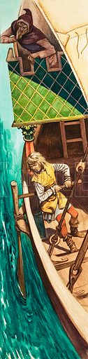 When They Were Young: Marco Polo. Young Marco found out all he could about sailing a ship. Original artwork from Treasure no. 192 (17 September 1966). Originally published in black & white.