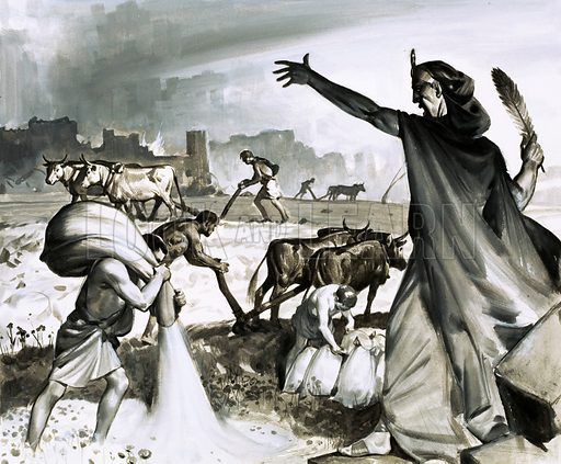 The Rise and Fall of Carthage. When the Romans finally defeated the Cartheginians they cursed the city, putting down salt so that nothing would grow. Original artwork from Look and Learn no. 481 (3 April 1971).