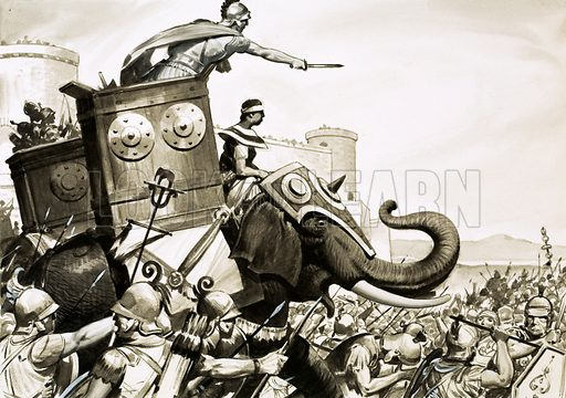The Rise and Fall of Carthage. Carthage and Rome were great rivals. The Cartheginians had a secret weapon – elephants. Original artwork from Look and Learn no. 481 (3 April 1971).
