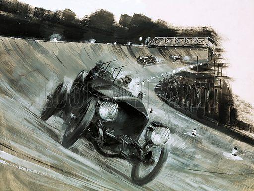 Unidentified motor race. Original artwork.