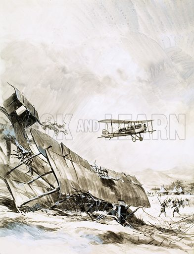 Unidentified biplane crash. Original artwork.