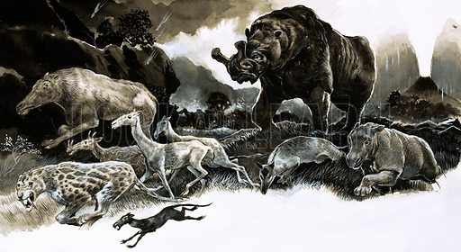Oligocene age animals, pcture, image, illustration