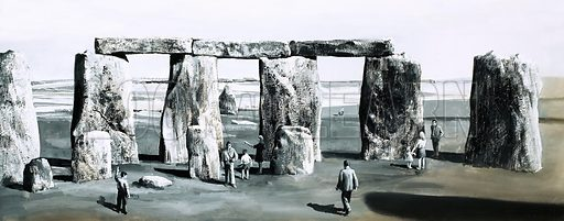 Mysteries from the Past: The Secret of Stonehenge. Original artwork from Look and Learn no. 433 (2 May 1970).